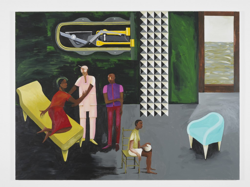 LE RODEUR: THE LOCK, Lubaina Himid, 2016 Acrylic on canvas, 183 x 244 cm