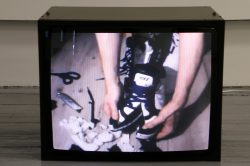 Installation detail, COLON HYPHEN ASTERIX, 2012Ripped YouTube videos on Hantarex video monitor