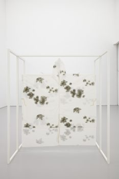 MARIANA, 2015Powder-coated aluminium, Perspex, snow camouflage poncho197 x 203 x 93 cm