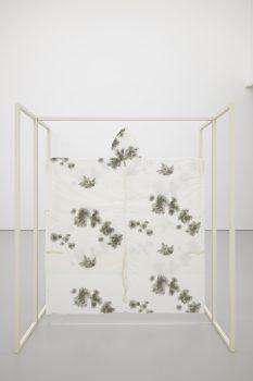 OBOVATE, 2015Powder-coated aluminium, Perspex, snow camouflage poncho197 x 203 x 93 cm